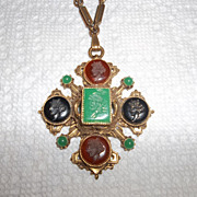 Early 30's Intaglio, faux carnelian, Jet, and Jade necklace