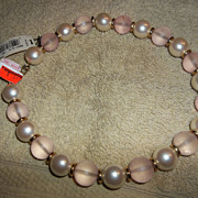 Vintage 70's New Old stock Monet large faux pearl resin Necklace with tags