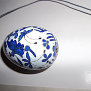 Porcelain egg with cobalt butterflies 1980's
