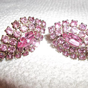 Pretty in Pink vintage rhinestone clamp earrings