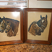 Vintage 1960's Mare, with baby pony Litho prints   (pair)