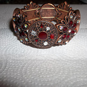 Early 80's copper, red beads and rhinestones bracelet