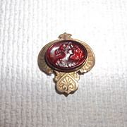 Early Victorian Pendant Red glass Intaglio or Watch Fob pendant