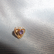 Single 10k diamond, heart amethyst Earring