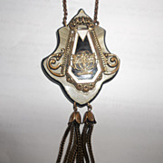 Stunning original ART DECO Celluloid brass necklace, enamel