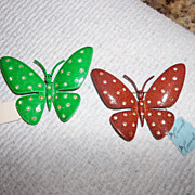 Pair Of Corocraft  enamel butterflie brooch's.  New Vintage Stock.