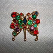 Large multi colored rhinestones butterfly brooch