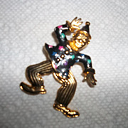 Whimsical movable clown brooch