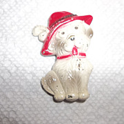 Early 40's enamel puppy dog with red hat.   Brooch