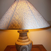 Art Deco Rene Buthaud, L. Katona (French artists)  Peau-de Serpent stoneware Table Lamp