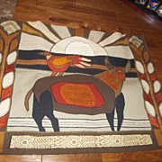 Helen Webber 1975 Tapestry The Bull and the Bird.  Signed dated