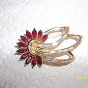 Stunning CoroCraft red and clear rhinestones,  Pat Pend