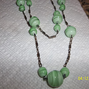 Art Deco green marble glass Flapper length necklace