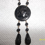 French Jet Victorian Mourning Cameo Necklace