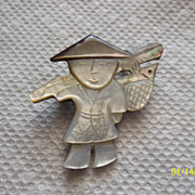 Sweet hand carved shell Chinese man