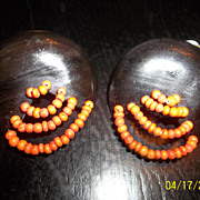 Extra large 60's plastic earrings with wood beads