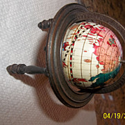 "Vintage miniature 4"" litho tin Africa, Asia Globe with metal tripod"