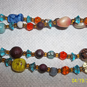 Vintage 40's Art glass, tin foil, glass bead necklace.