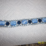 Five large blue square rhinestone bracelet
