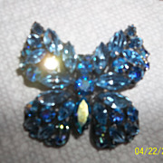 Regency Blue rhinestone butterfly, Brooch TLC