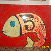 Vintage Acrylic painting of a Fish and number 5  signed and Dated 1965