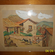 Water color of Taxco Guerrero Mexico  1955 Signed Margot
