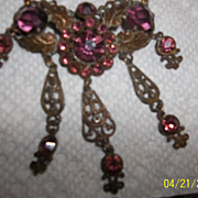 Early 30's Purple glass faceted rhinestone Victorian style, signed necklace