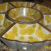 Beautiful Porcelain Yellow, and gold tone Dish Set  1970's  Spring Colors