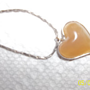 Vintage hand made 70's pretty agate heart necklace,