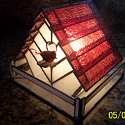 Sweet Vintage Stained glass Bird House Light