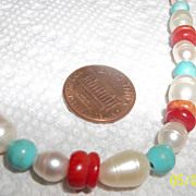 Large fresh water pearl, turquoise, and coral necklace