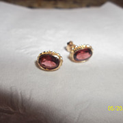 Garnet 585 European 14K yellow gold earrings