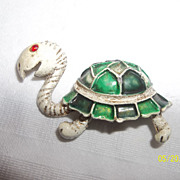 Turtle brooch from the 60's white and green enamel, rhinestone eye