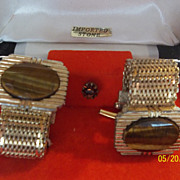 Tiger eye cuff links & tie pin