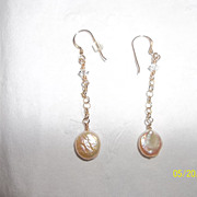 Fresh water pearl 14k GF crystal earrings