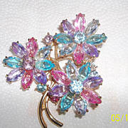Huge Swarovski multi color Brooch