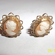 Winard Cameo Italy earrings 1-20 12 k gf  clamp style 40's