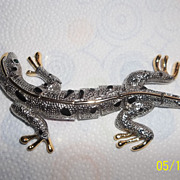 Super large silver, gold tone, enamel Lizard  jointed