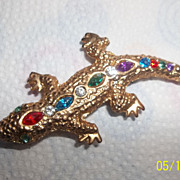 Multi color rhinestone lizard brooch
