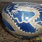 Ming Dynasty blue & White Dragon Pottery Bowl 6 Character Mark