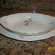 Vintage Fine Bohemian China Czech platter and oval bowl Set