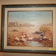 Vintage Native American fold art oil painting