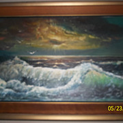 Vintage Oil painting Of a roaring Ocean waves