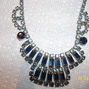 Gorgeous Blue baguette rhinestone drippy 70's  necklace