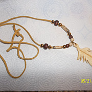 Vintage 70's hippie style feather of bone necklace
