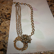 Early Stanley Hagler faux pearl rhinestone necklace
