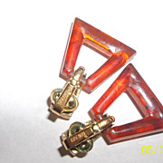 Crown Trifari knocker style clamp earrings 60's