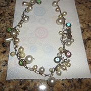 Possible charm necklace, czech, faux pearl, sterling charms.