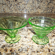 Pair of 1930's Federal green glass sherbert dishes.