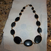 Large oval black glass 80's necklace